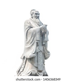 Confucius statue isolated on white background. Located in Jianshui Confucius Temple, Jianshui, Yunnan, China.