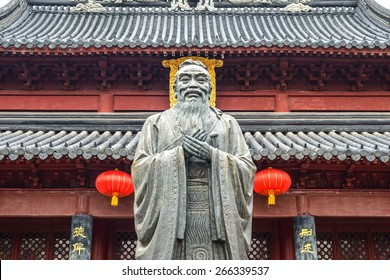 Confucius statue. Located in Nanjing Confucius Temple, Nanjing City, Jiangsu Province, China.