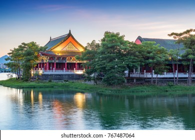 Confucius Temple in Kaohsiung, Taiwan at night