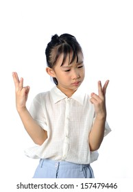 Confused asian little child do not know the answer - problem with mathematics