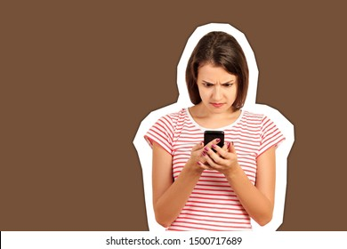 Confused or bewilderment upset woman looking at her mobile phone. emotional girl Magazine collage style with trendy color background.