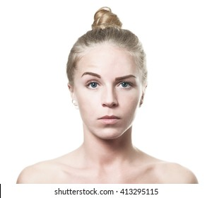 Confused blue eyed blond girl on isolated background