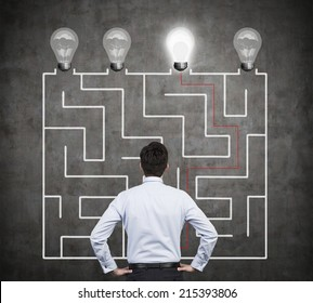 Confused businessman brainstorming the labyrinth to find the solution