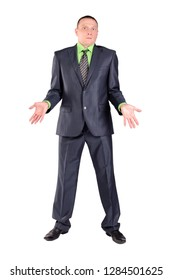 Confused businessman do not know the answer on the question isolated on the white background. Confound concept.