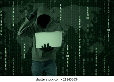 Confused hacker looking at a laptop computer