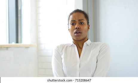 Confused Scared Black Woman in Office at Work