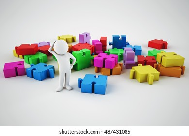 Confused white man try to build a company. 3D rendering