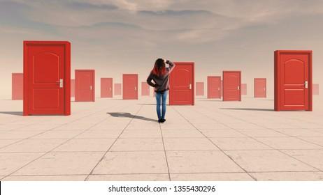 Mujer confusa parada frente a múltiples puertas. El concepto de opciones difíciles.