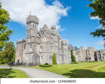 CONG, IRELAND - AUGUST 10, 2018: Ashford Castle is a medieval and Victorian castle that has been turned into a five-star luxury hotel near Cong on the Mayo-Galway border in Ireland.