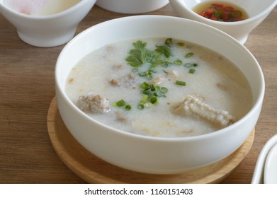 Congee or conjee s a type of rice porridge popular in many Asian countries. When eaten as plain rice , it is often served with side dishes. When additional ingredients such as meat, fish, are added.