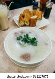 Congee with deep-fried dough stick