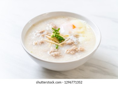 congee with minced pork in bowl - Asian breakfast style