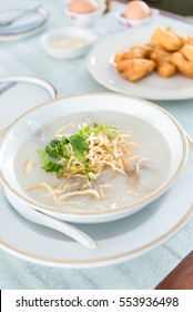 Congee or rice porridge with pork and flavourings.