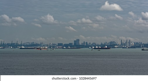Congested traffic in the narrow passageway in the Straits of Singapore, the world's busiest shipping lane.