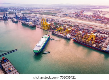 Congestion of international port services global worldwide to the various ships vessels in loading and discharing transferring the shipments of container, RO RO service, gerneral cargo and heavy lift