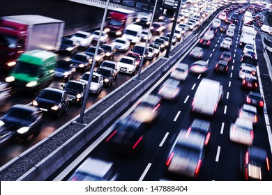 congestion on a higway on rush hour time