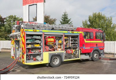 CONGLETON, CHESHIRE -  SEPTEMBER 30th  2017: Cheshire Fire Service open day with various displays and demonstrations at Congleton, Cheshire UK