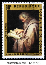 CONGO - CIRCA 1977: A stamp printed in Republica Congo shows draw by arist Rubens  Apostle Simon, circa 1977