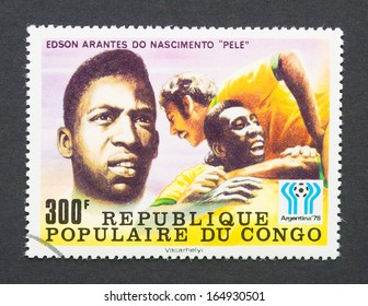 CONGO - CIRCA 1978: a postage stamp printed in Congo showing an image of Pele soccer player, circa 1978.
