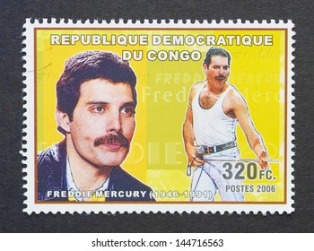 CONGO - CIRCA 2006: a postage stamp printed in Congo showing an image of Freddie Mercury, circa 2006.