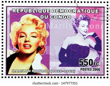CONGO - CIRCA 2006: A postage stamp printed by CONGO shows image portrait of famous American actress, model and singer Marilyn Monroe (1926-1962), circa 2006.