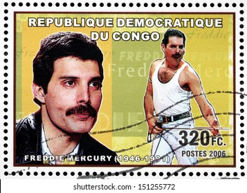 CONGO - CIRCA 2006: A postage stamp printed by CONGO shows portrait of English musician, singer and songwriter Freddie Mercury, best known as the lead vocalist of the rock band Queen, circa 2006.