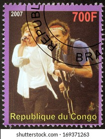 CONGO - CIRCA 2007: A postage stamp printed by CONGO shows image portrait of  famous English musicians Mick Jagger and Keith Richards, circa 2007.