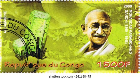 CONGO - CIRCA 2009: A stamp printed in Congo shows Mahatma Gandhi, circa 2009