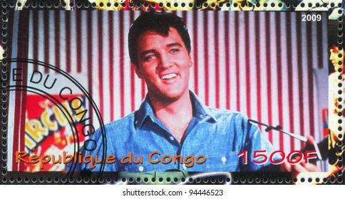 CONGO - CIRCA 2009: A stamp printed by Congo, shows Elvis Aaron Presley, circa 2009