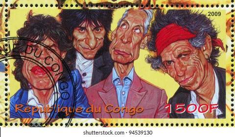 CONGO - CIRCA 2009: stamp printed by Congo, shows Rolling Stones, circa 2009