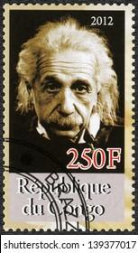 CONGO - CIRCA 2012: A stamp printed in Congo shows Albert Einstein (1879-1955), circa 2012