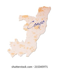 Congo - Old paper with handwriting, blue ink