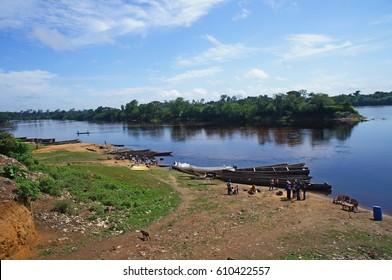 The Congo river in Dongou, Likouala district, Republic of Congo (Congo Brazzaville), March 2014