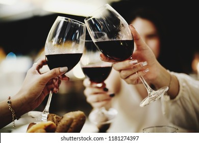 Congratulation wine toasted.
