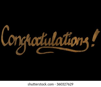 Congratulations card, gold ink hand lettering.