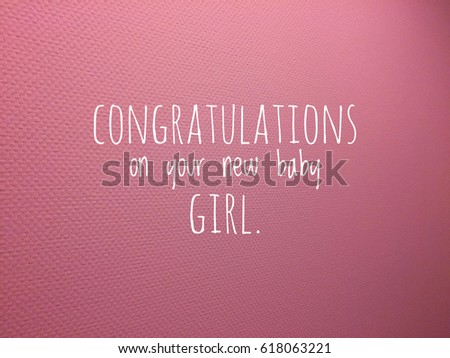 Congratulations Card New Baby Girl Text Stock Photo Edit Now
