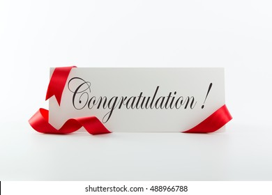 Compliment card images stock photos vectors shutterstock congratulations note or greeting card with red ribbon over white background m4hsunfo