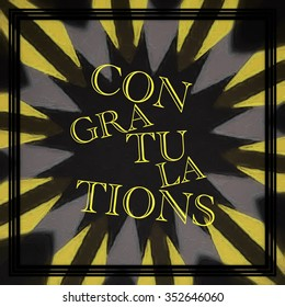Congratulations text abstract illustration sign yellow on black star effect