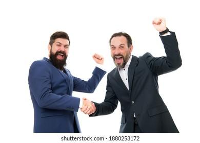 Congratulations, we did it. Happy businessmen express congratulations. Bearded men celebrate success. Congratulations on business deal. Handshaking and offering congratulations. Congrats. Hooray.