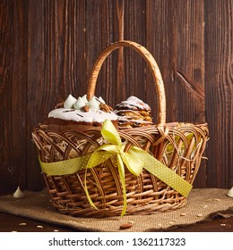 Congratulatory Easter cake in the basket, Traditional Kulich, Paska  ready for celebration