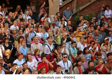 a congregation of tourists at sight-seeing