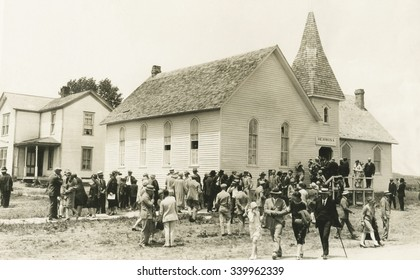 Congregational Church after Sunday service, Hermosa, South Dakota, in June 1927. President Calvin and Grace Coolidge spent a 3-month vacation at State Game Lodge in nearby Custer State Park. They atte