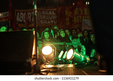 Congreso, Buenos Aires, Argentina.07-17-2018. Manifestation for legal abortion.