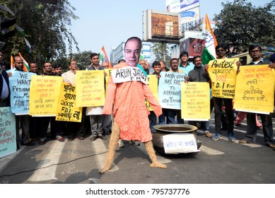 Congress activists protest against Finance Minister Arun Jaitley and Financial Resolution and Deposit Insurance (FRDI) Bill on January 11, 2018 in Calcutta, India.