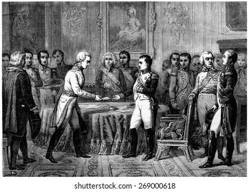 Congress of Erfurt, vintage engraved illustration. History of France 1885.