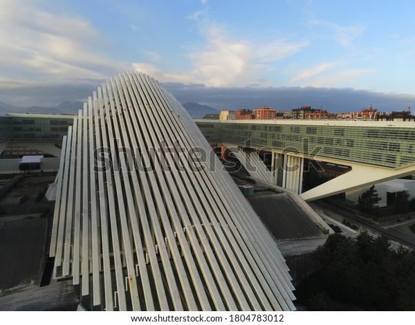 Congress Palace of Calatrava in Oviedo. Asturias, Spain. Aerial Drone Photo