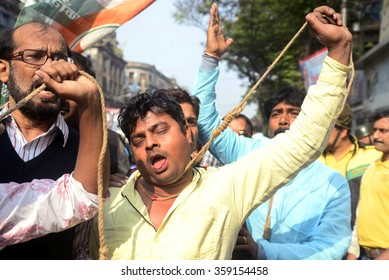 Congress party member protest with hanging rope in a protest rally organized by youth congress to protests Against National Herald issue on December 19, 2015 in Calcutta, India.