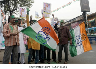 Congress workers wave Congress flag to celebrate their party good result in the assembly election of Rajasthan, Madhya Pradesh and Chhattisgarh on December 11, 2018 in Calcutta, India.