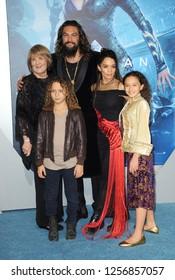Coni Momoa, Jason Momoa, Nakoa-Wolf Manakauapo Momoa, Lisa Bonet and Lola Iolani Momoa at the Los Angeles premiere of 'Aquaman' held at the TCL Chinese Theatre in Hollywood, USA on December 12, 2018.