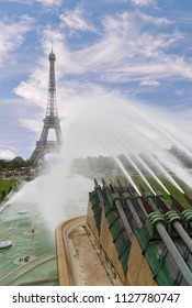 conic Landmark Steel Structure of Eiffel Tower in Paris France and Trocadero Fountains